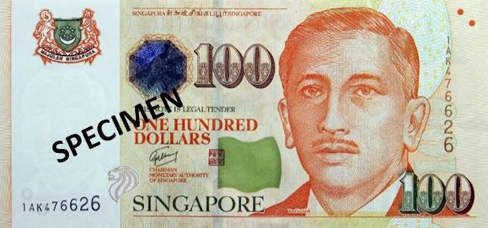 100シンガポール ドル紙幣